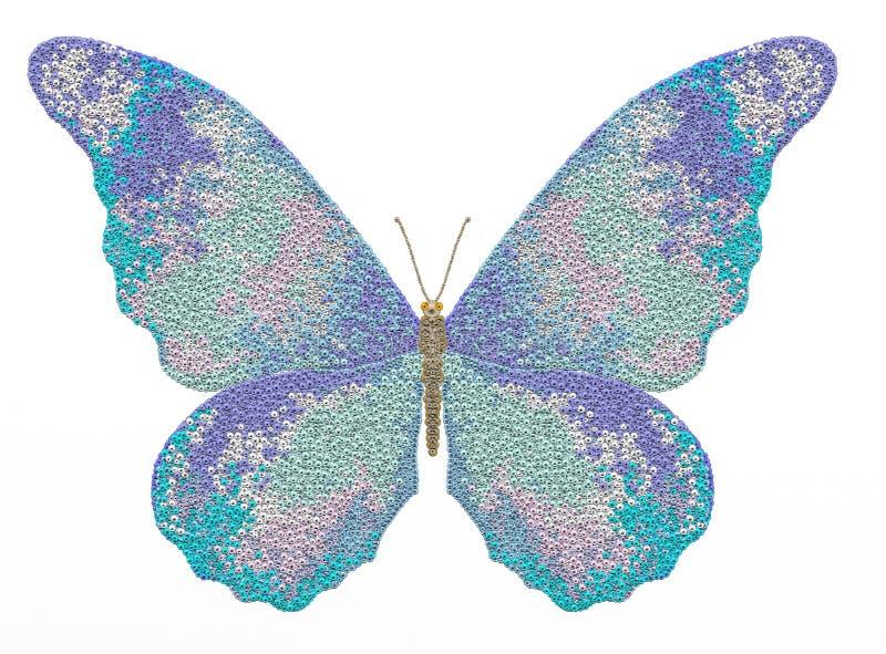 Farfalla dell'illustrazione su un fondo bianco royalty illustrazione gratis