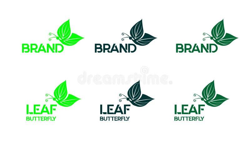 Farfalla della foglia di logo fotografie stock