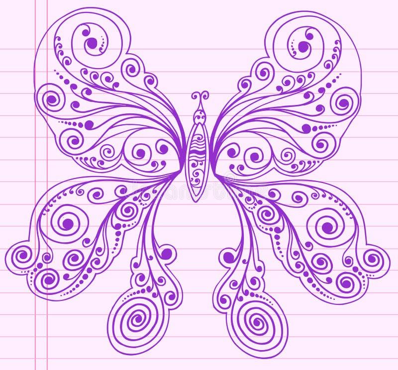 Farfalla di abbozzo del hennè di Doodle illustrazione vettoriale