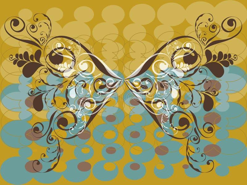 Farfalla di colore marrone del grunge dell'annata illustrazione di stock