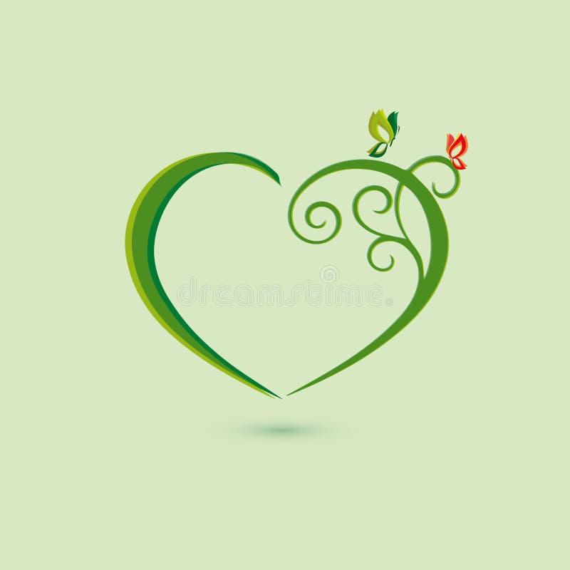 Farfalla di verde dell'icona di Eco e simbol del cuore Illustrazione di vettore isolata sui precedenti leggeri Progettazione graf illustrazione vettoriale