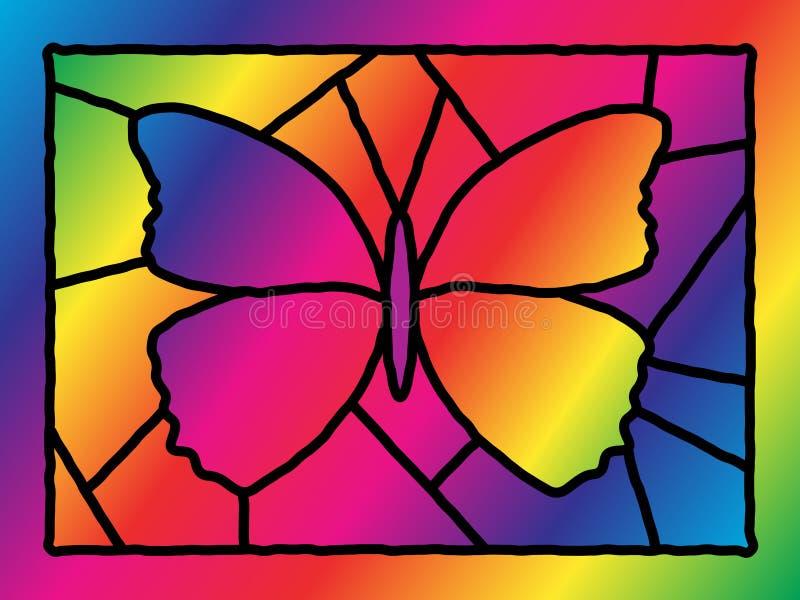 Farfalla di vetro macchiato illustrazione di stock