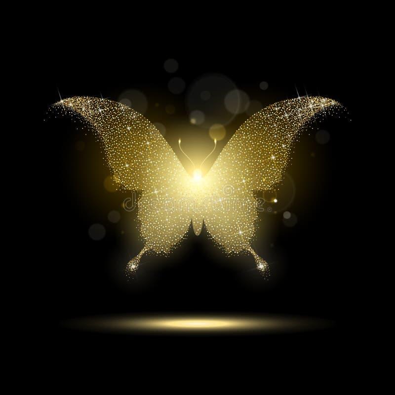 Farfalla dorata lucida royalty illustrazione gratis
