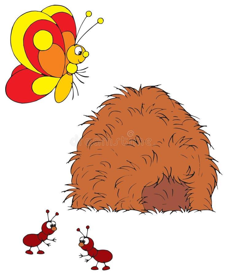 Farfalla e formiche (vettore cli illustrazione vettoriale