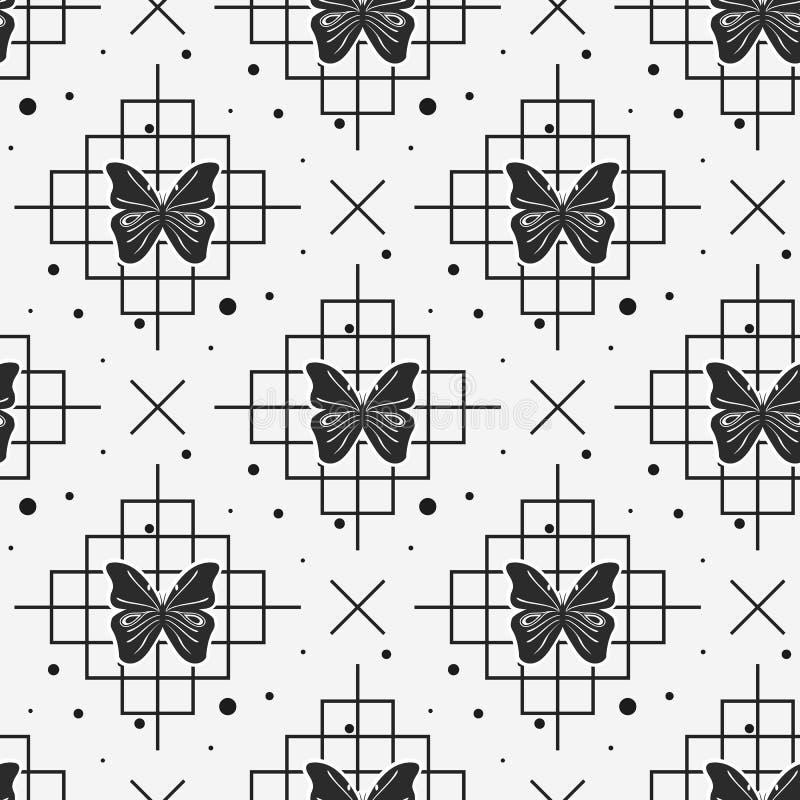 Farfalla e linea nere modello senza cuciture su fondo bianco illustrazione vettoriale