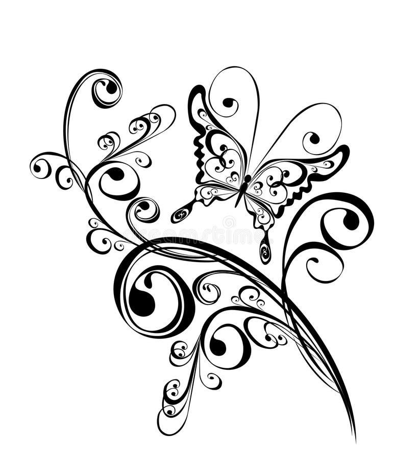 Farfalla ed ornamento floreale, elemento per il disegno illustrazione vettoriale