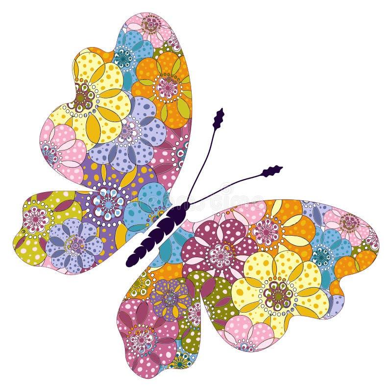 Farfalla floreale variopinta luminosa della primavera royalty illustrazione gratis