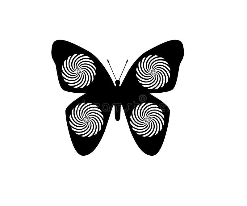 Farfalla isolata sull'elemento bianco dell'oggetto del fondo illustrazione di stock