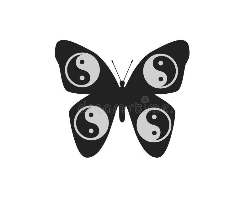 Farfalla isolata sull'elemento bianco dell'oggetto del fondo illustrazione vettoriale