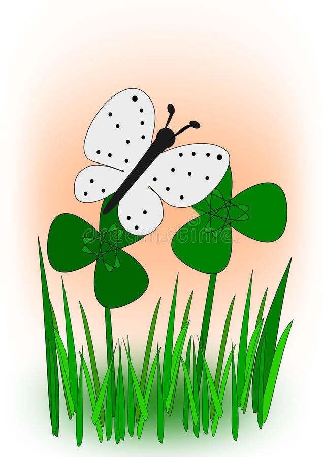 Farfalla nel prato del trifoglio illustrazione di stock