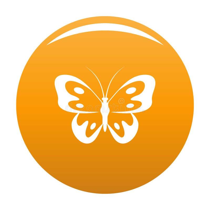 Farfalla nell'arancia dell'icona della fauna selvatica illustrazione di stock