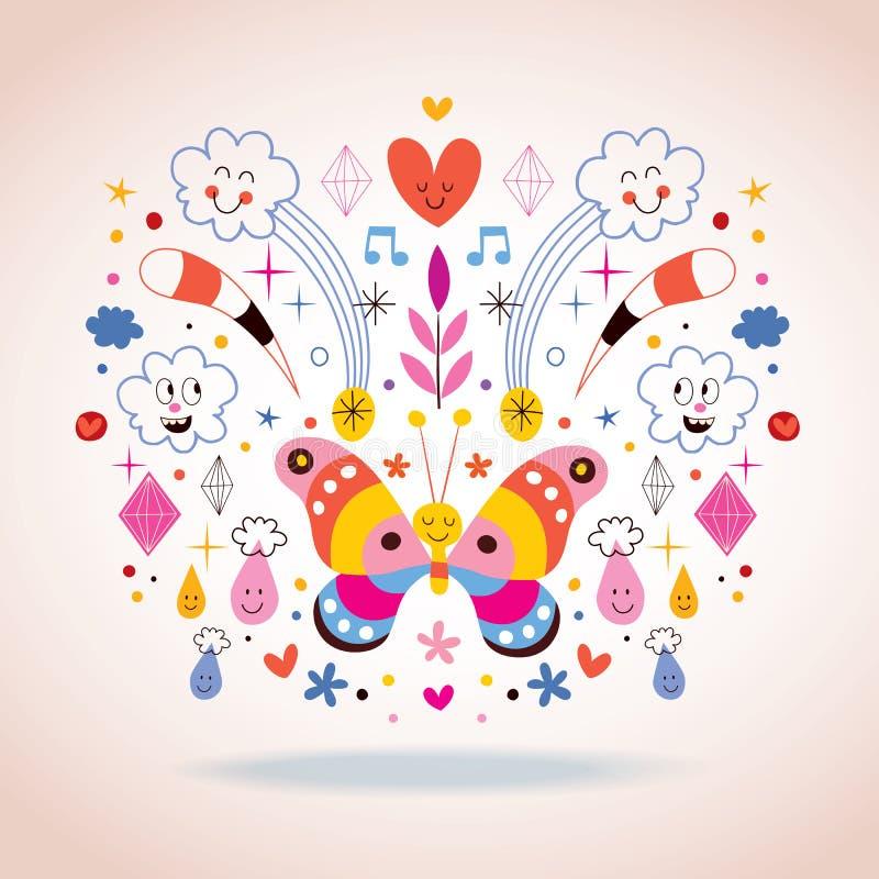 Farfalla, nuvole, fiori, diamanti, illustrazione di vettore della natura del fumetto delle gocce di pioggia royalty illustrazione gratis