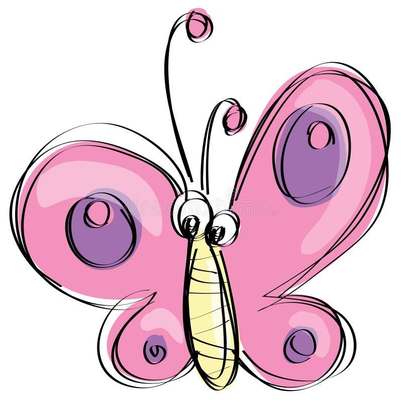 Farfalla rosa del fumetto con il fronte divertente come disegno ingenuo dei bambini illustrazione vettoriale
