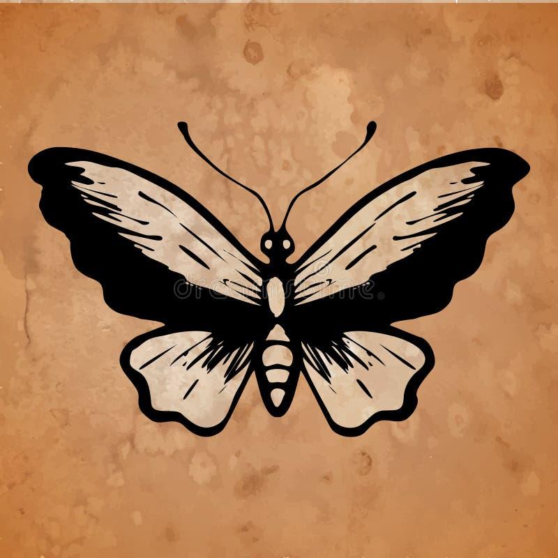Farfalla su un vecchio fondo di carta illustrazione vettoriale