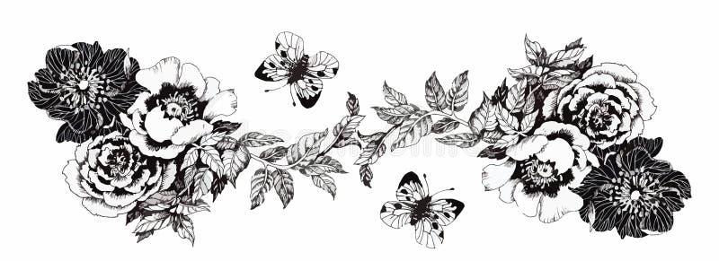 Farfalla sul fiore Farfalla sul fiore isolato su fondo bianco Acquerello che dipinge fatto a mano illustrazione di stock