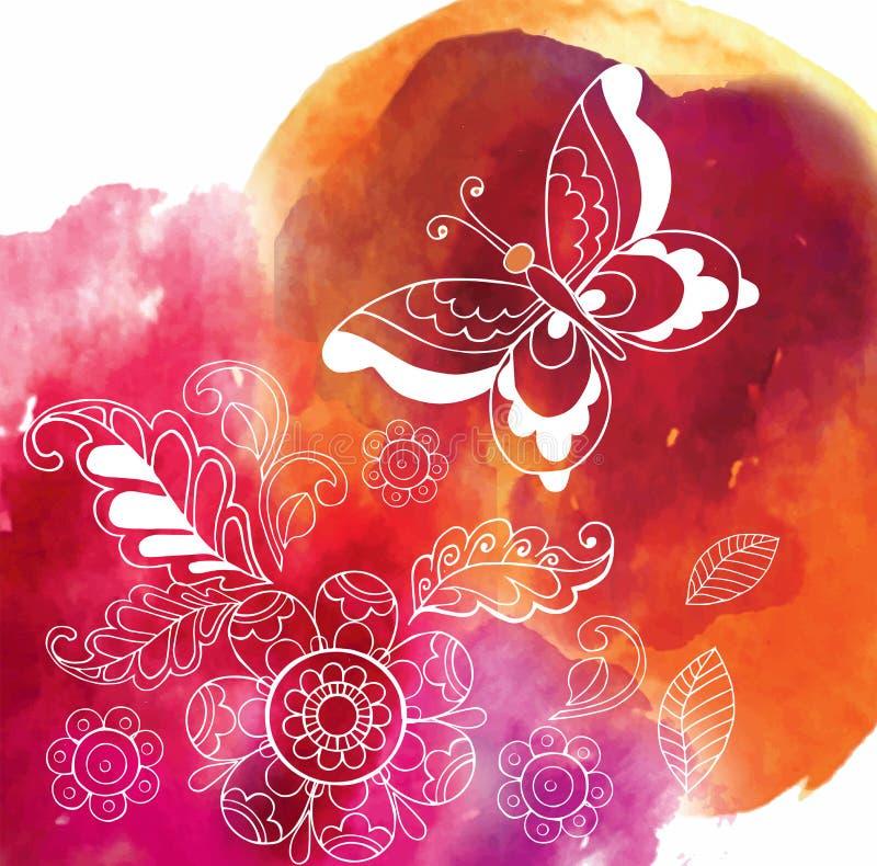Farfalla sul fondo variopinto dell'acquerello illustrazione vettoriale