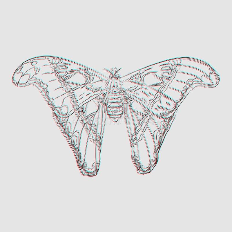 Farfalla surrealista su un fondo grigio immagini stock libere da diritti