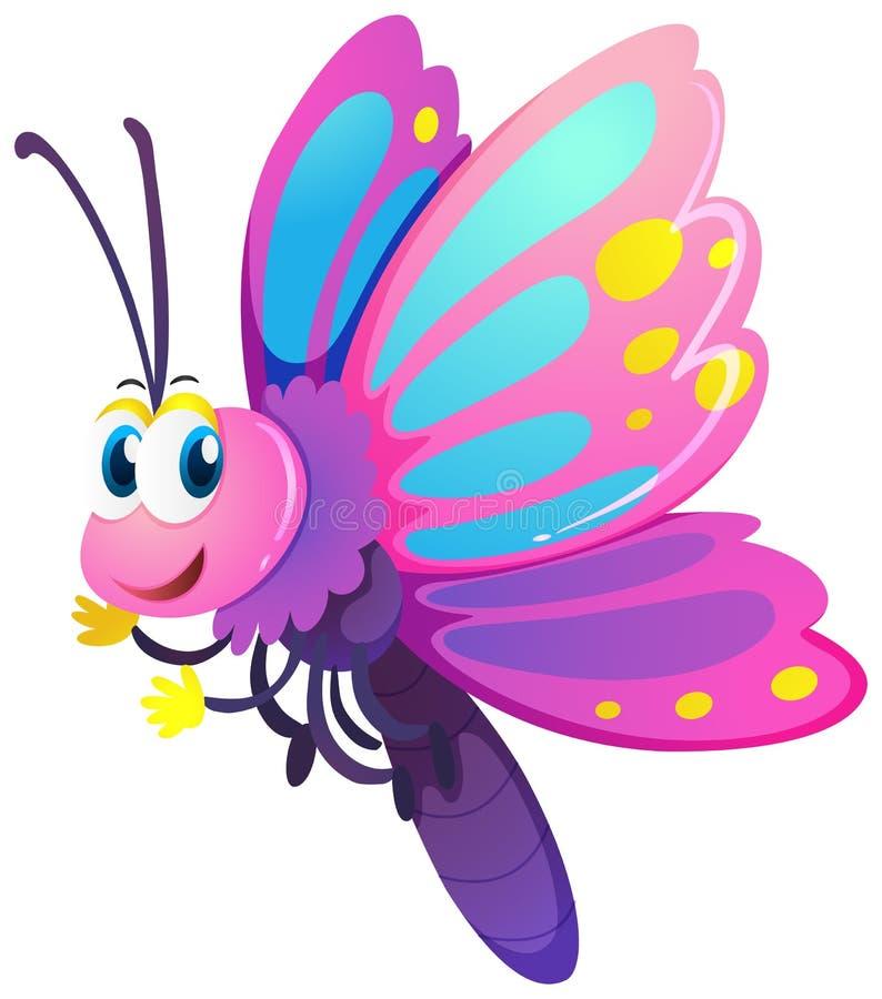 Farfalla sveglia con le ali rosa e porpora illustrazione vettoriale