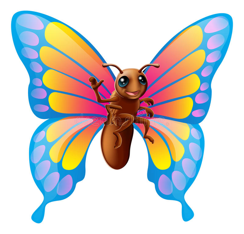 Farfalla sveglia del fumetto illustrazione vettoriale