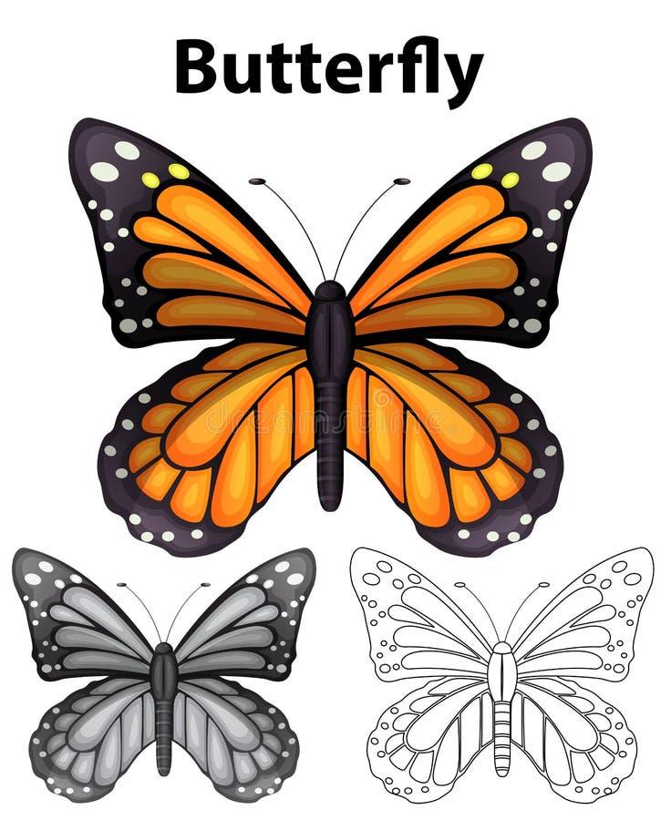 Farfalla in tre stili differenti del disegno illustrazione di stock