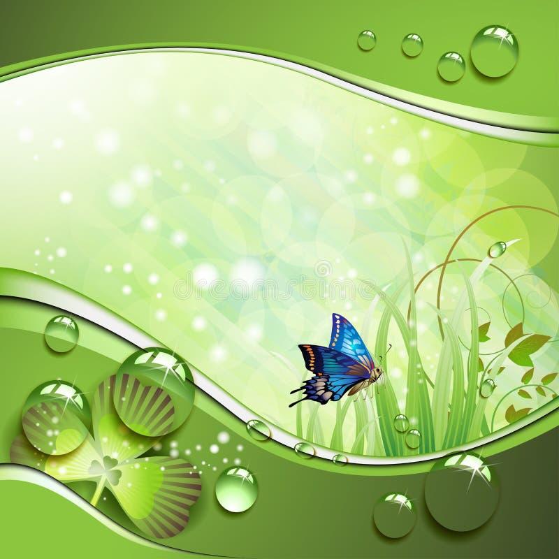 Farfalla, trifoglio ed erba illustrazione vettoriale