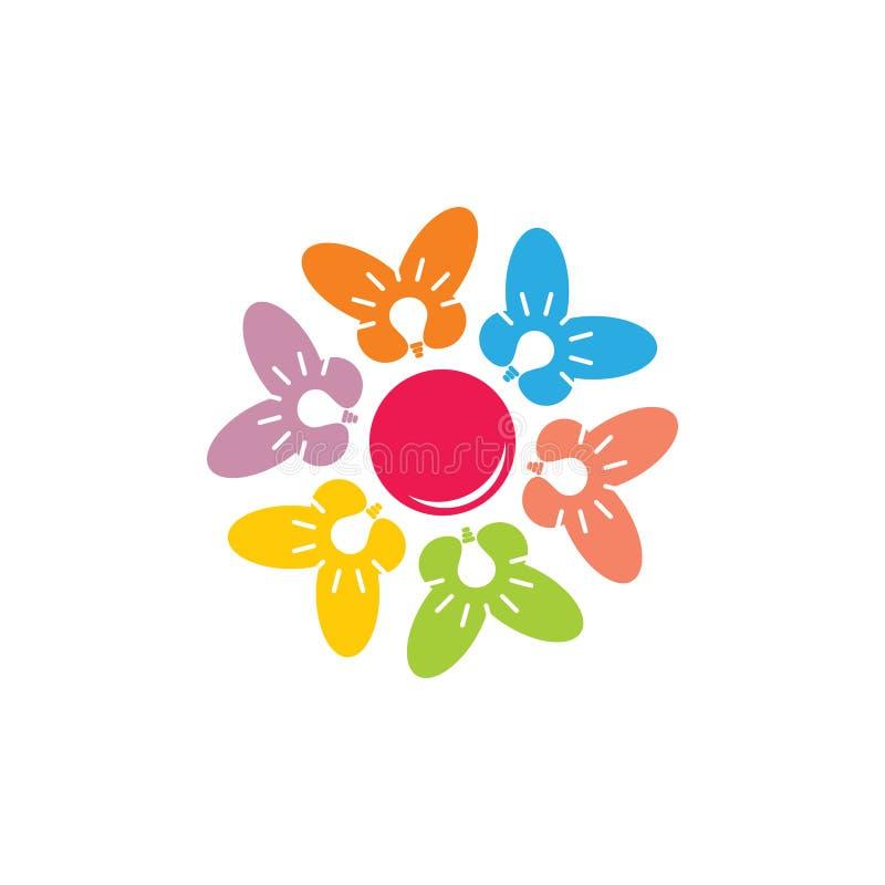 Farfalla variopinta di lustro nel logo creativo geometrico di simbolo del cerchio royalty illustrazione gratis