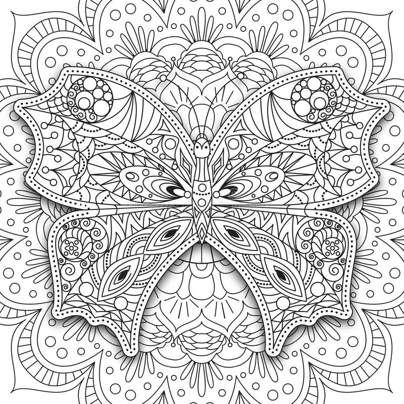 Farfalla Vettore stampabile etnico disegnato a mano nello stile di scarabocchio Pagina del libro da colorare per gli adulti ed i  illustrazione di stock