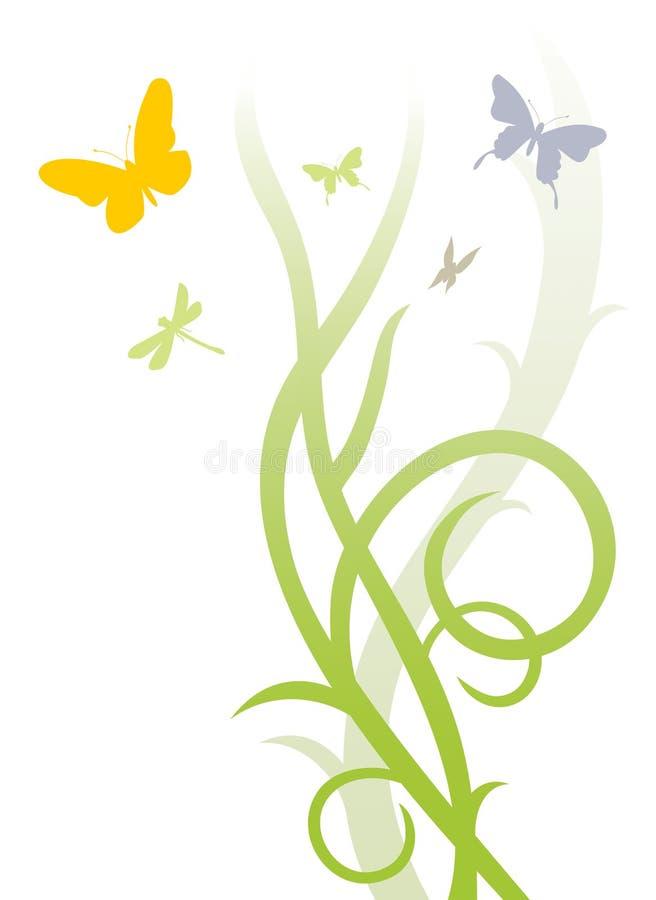 Farfalle & estratto floreale illustrazione di stock
