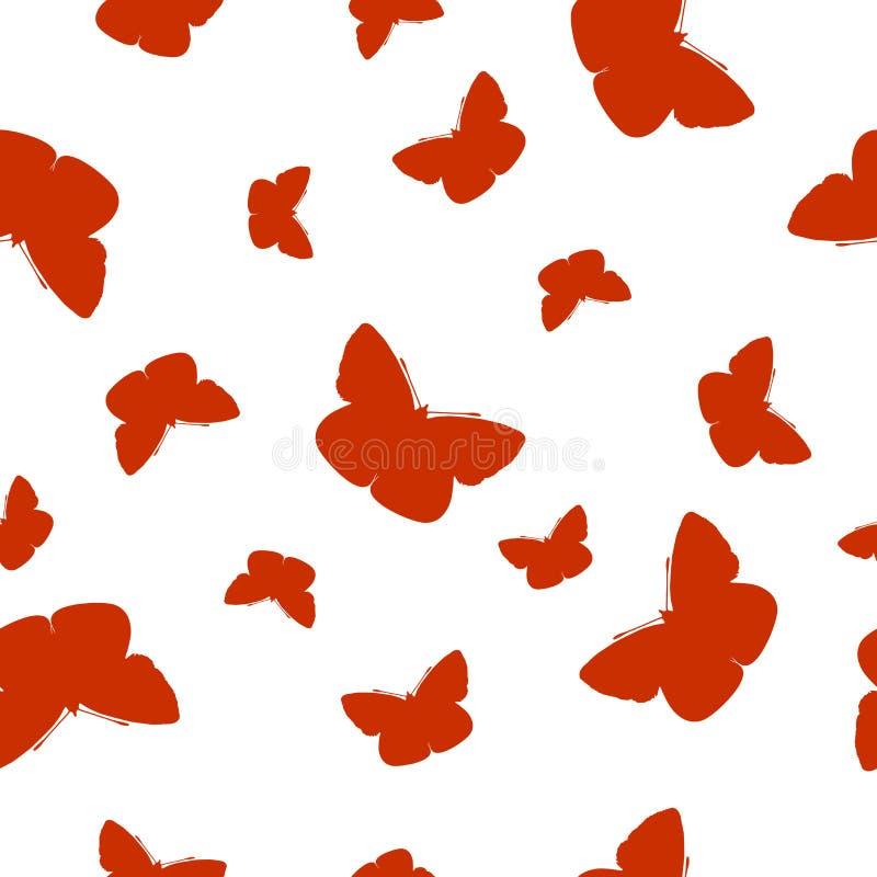 Farfalle arancio del modello senza cuciture isolate su bianco, vettore ENV 10 royalty illustrazione gratis