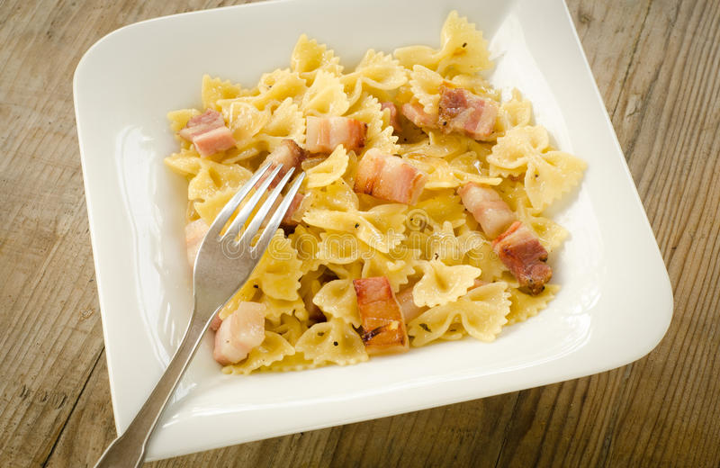 Download Farfalle with bacon stock image. Image of cooked, dish - 26682841