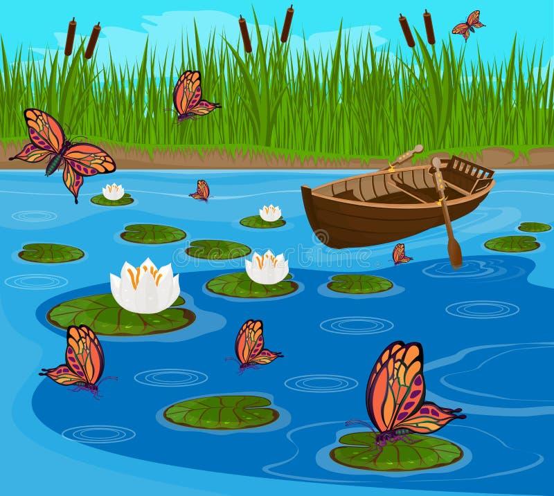 Farfalle che sorvolano il lago fra i gigli di fioritura illustrazione di stock