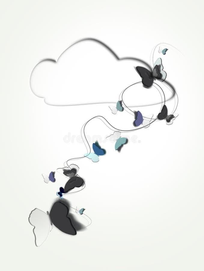 Farfalle che volano dalle nuvole illustrazione vettoriale