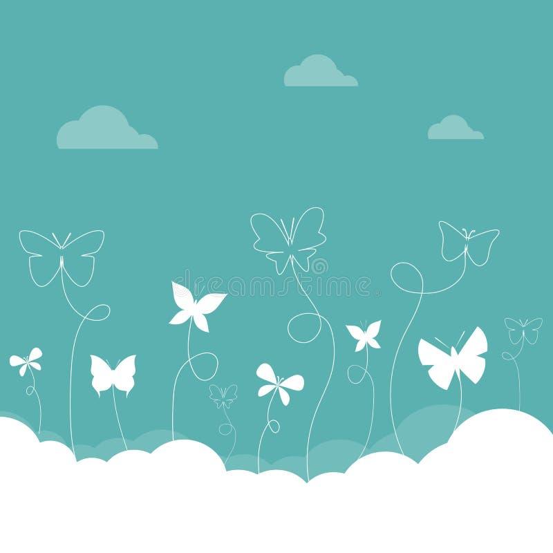 Farfalle che volano nel cielo illustrazione di stock