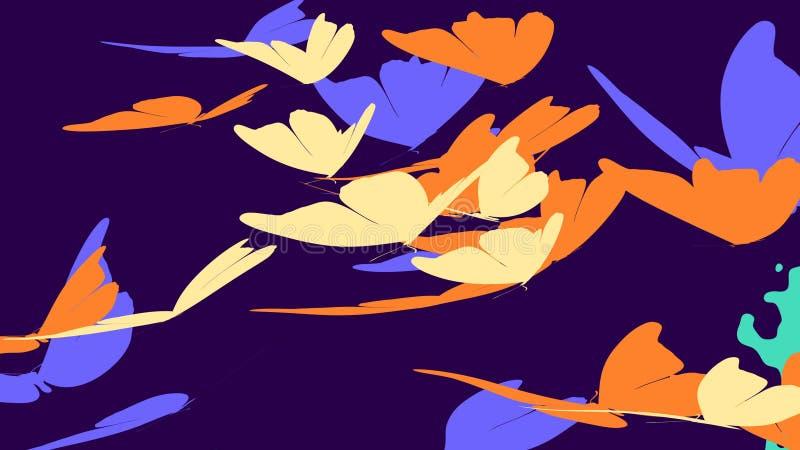 Farfalle che volano nel fondo viola illustrazione di stock