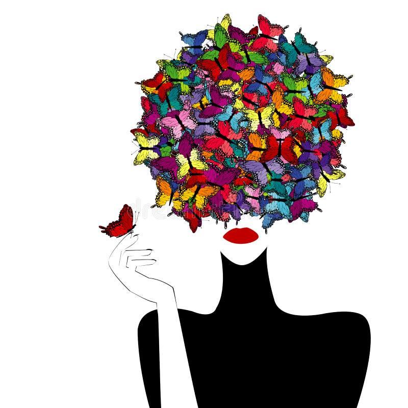 Farfalle colorate wiith stilizzato della donna su lei capa illustrazione di stock