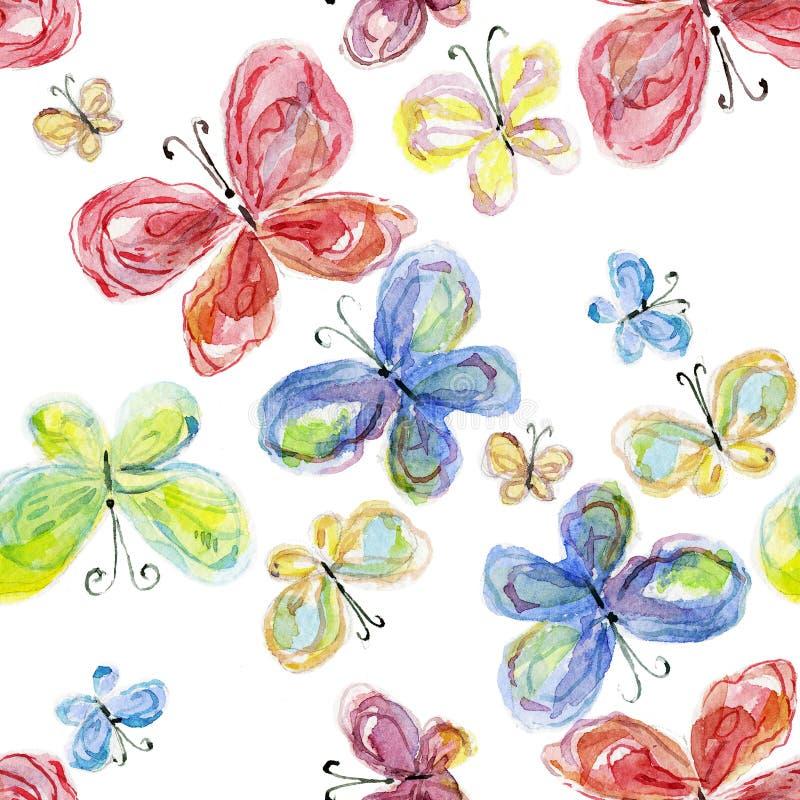Farfalle dell'acquerello illustrazione di stock