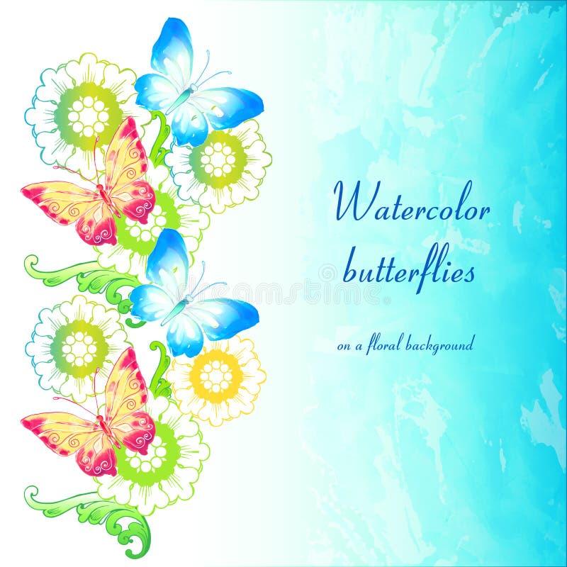 Farfalle dell'acquerello su un fondo floreale illustrazione vettoriale
