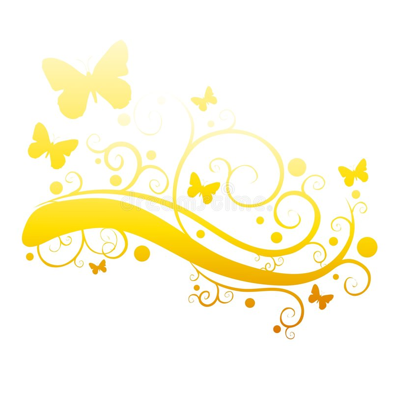 Farfalle dell'oro nella siluetta del giardino di fiore illustrazione di stock