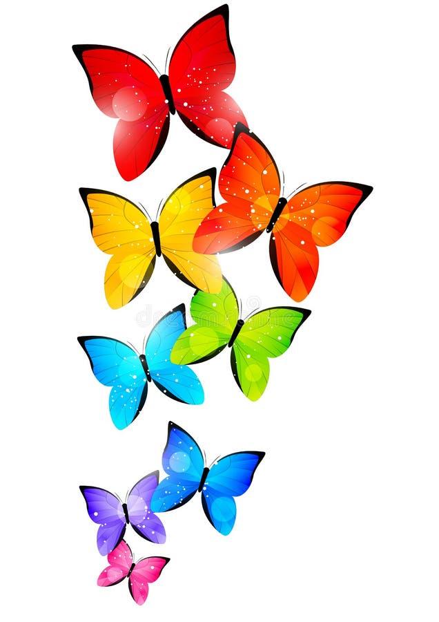 Farfalle di colore su bianco illustrazione di stock