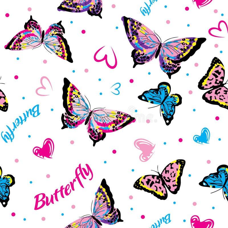 Farfalle di coloritura nel fondo bianco senza cuciture illustrazione vettoriale