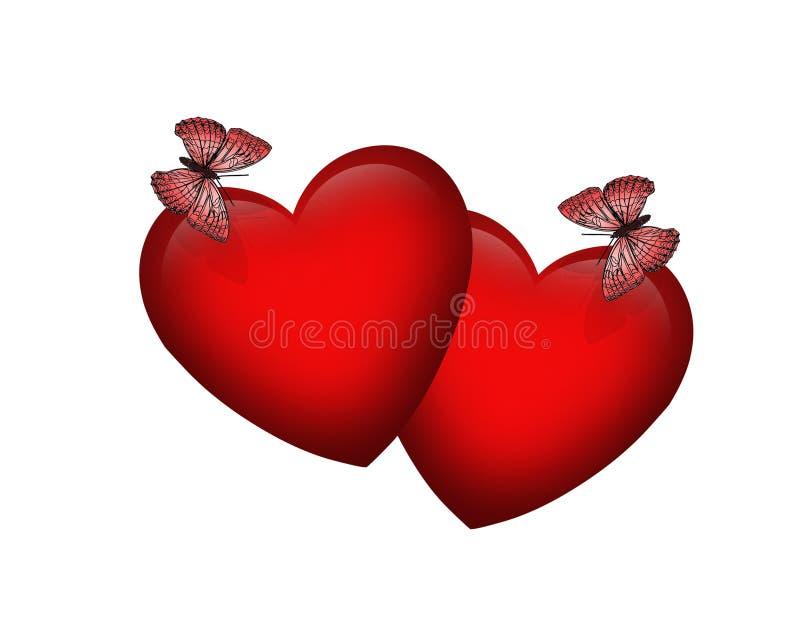 Farfalle di giorno del biglietto di S. Valentino illustrazione vettoriale