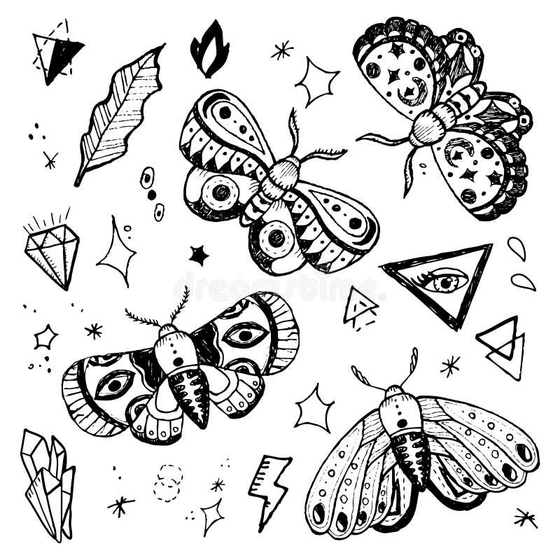 Farfalle disegnate a mano messe illustrazione di stock
