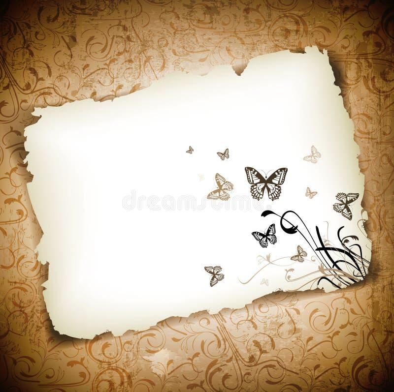 Farfalle a documento sopra la priorità bassa del grunge illustrazione vettoriale