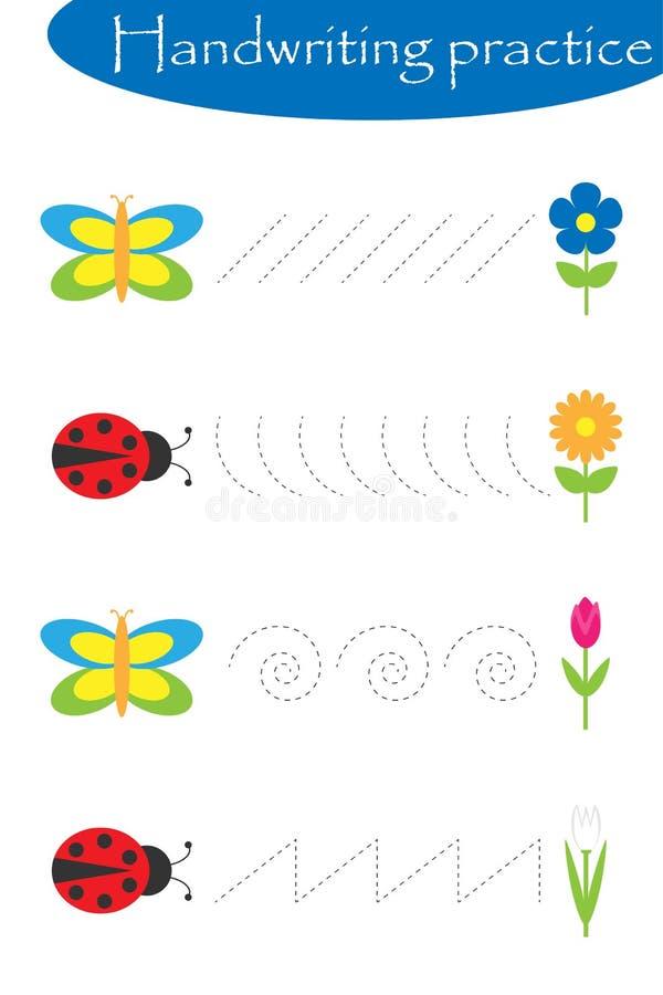 Farfalle e coccinelle, strato di pratica della scrittura della molla, attività prescolare dei bambini, gioco educativo dei bambin royalty illustrazione gratis