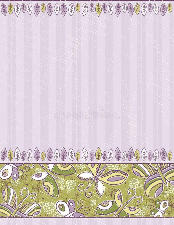 Farfalle e fiori di tiraggio della mano illustrazione di stock