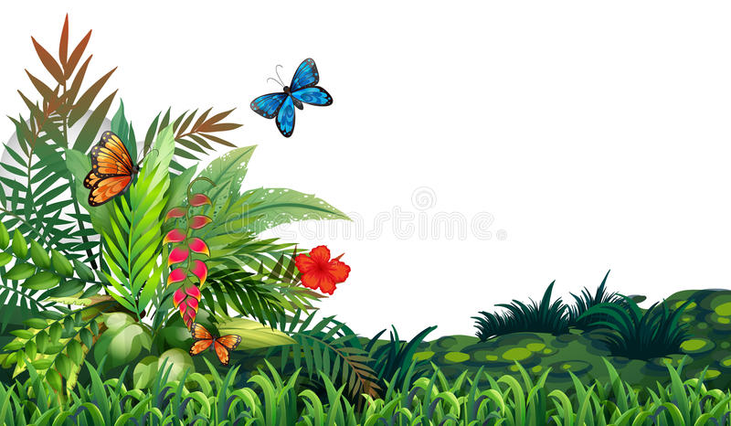 Farfalle e giardino royalty illustrazione gratis
