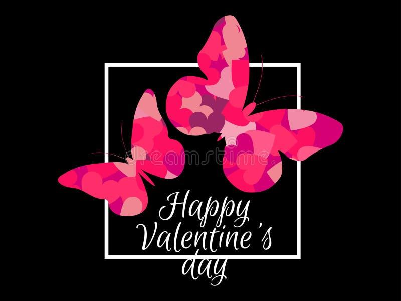Farfalle e struttura felici di giorno del ` s del biglietto di S. Valentino Fondo festivo per la cartolina d'auguri, l'insegna ed illustrazione di stock
