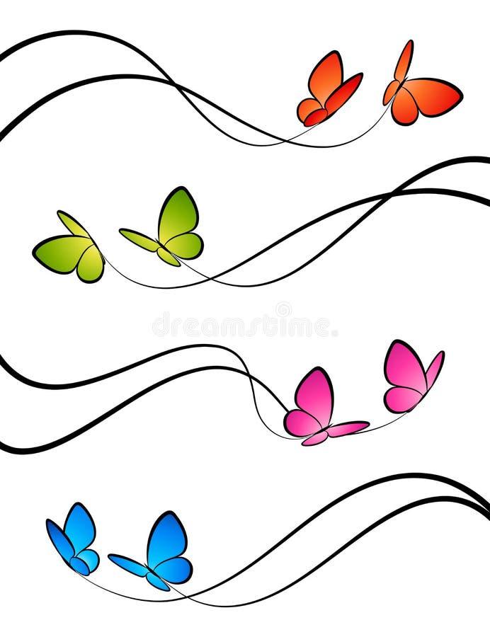 Farfalle. Elementi per il disegno. illustrazione vettoriale