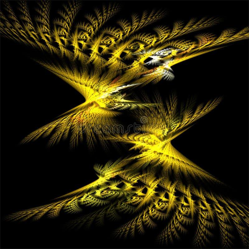 Farfalle gialle decorative dello spazio di frattali dell'estratto di arte di frattale dell'elaboratore digitale illustrazione vettoriale