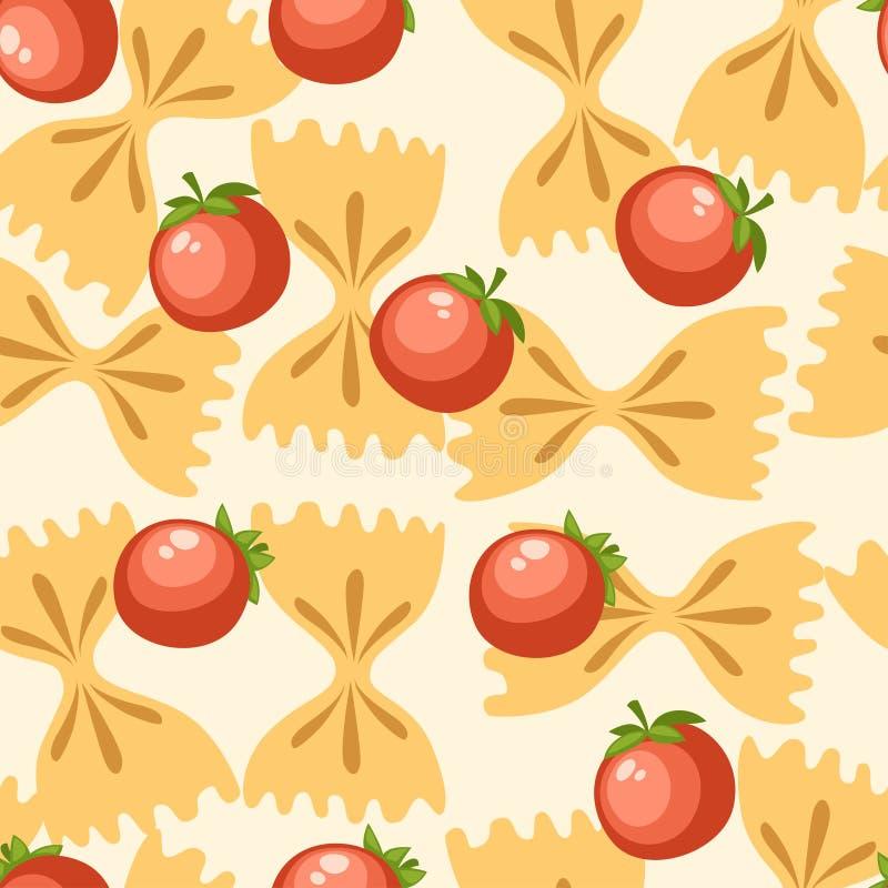 Farfalle italiano de las pastas de la comida con los tomates Modelo incons?til Ejemplo plano en el fondo blanco P?gina del sitio  stock de ilustración